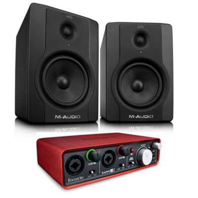 M-Audio BX5 Pair, Focusrite Scarlett 2i2 Audio Interface - Powered Studio Monitor Recording Package Includes JB's Jack Leads