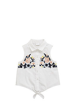 F&F Floral Embroidered Tie Front Blouse - White