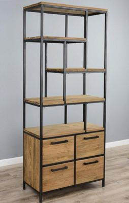 Industrial Metal / Wood Display Unit With Four Drawers