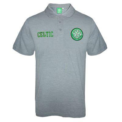 Celtic FC Mens Polo Shirt Grey Small