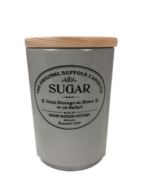Henry Watson Original Suffolk Large Sugar Storage Jar Canister with Beech Lid in Dove Grey