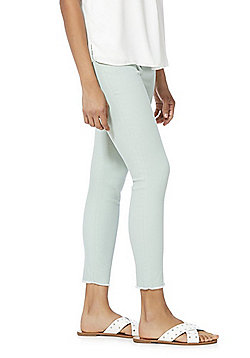 F&F Push-Up Frayed Hem Mid Rise Skinny Ankle Grazer Jeans - Sage Green
