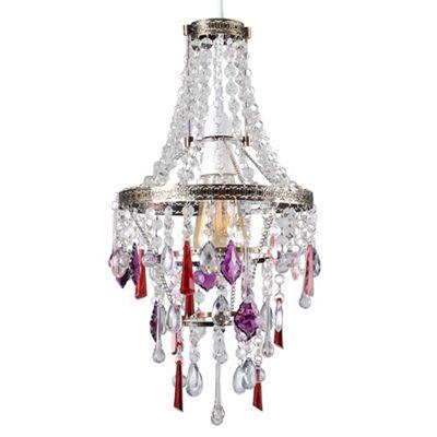 Ballerine Antique Brass Pendant Shade & Multi Coloured Droplets
