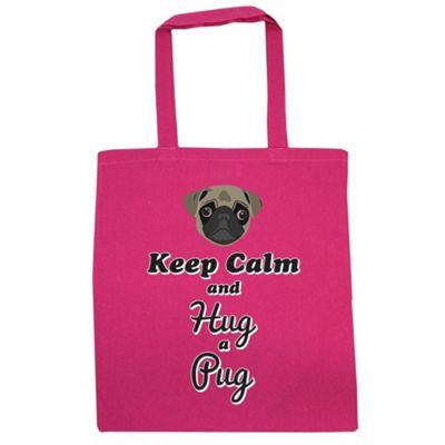 Keep Calm And Hug A Pug Tote Bag Pink