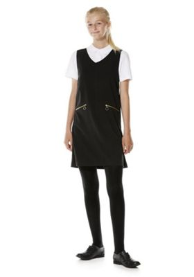 F&F School Soft Touch V-Neck Pinafore 10-11 years Black