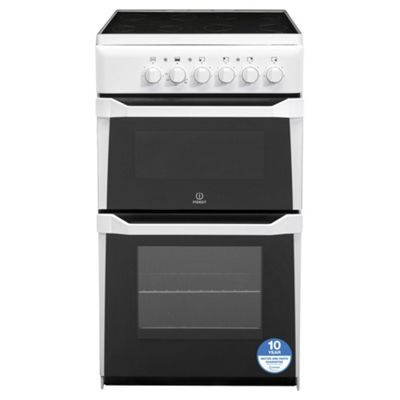 Indesit Electric Cooker with Electric Grill and Ceramic Hob, IT50C(W) S - White