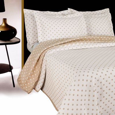 Homescapes Beige and White 'Dotty' Polka Dot Pattern Bedspread, Single