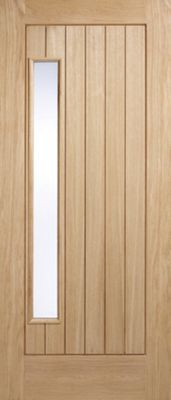 LPD Doors Newbury Oak 1 Panel Double Glazed Exterior Door - 213.5 cm H x 91.5 & Buy LPD Doors Newbury Oak 1 Panel Double Glazed Exterior Door ... pezcame.com