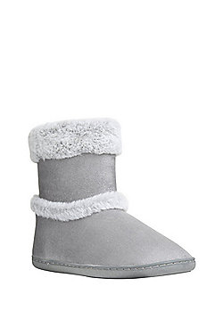 F&F Faux Suede Faux Fur Trim Bootie Slippers - Grey