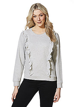 JDY Frill Trim Sweatshirt - Grey