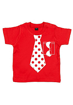 Dirty Fingers Spotty Necktie and Sunglasses Baby T-shirt - Red