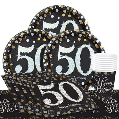Sparkling Celebration 50th Birthday Party Pack - Value Party for 8