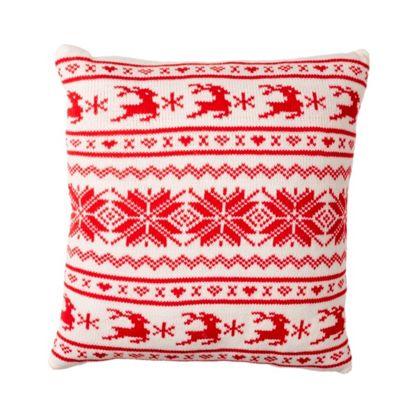 Red & White Scandi Christmas Cushion