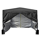 3x3m Pop-up Gazebo 2 Windbars waterproof coating layer Marquee Canopy With Sides (Black)