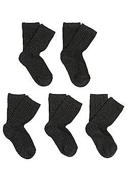 F&F 5 Pair Pack of Ribbed Fresh Feel Ankle Socks - Grey