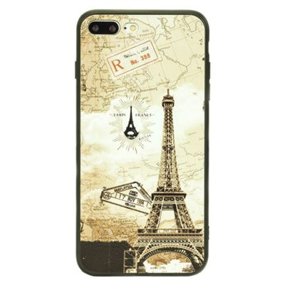 iPhone 7 Plus TPU Vintage Eiffel Tower and World Map Case - Multi