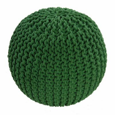 Homescapes Cotton Green Knitted Pouffe Footstool