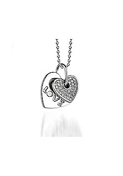 REAL Effect Rhodium Plated Sterling Silver White Cubic Zirconia Double Love Heart Pendant - 16/18 inch