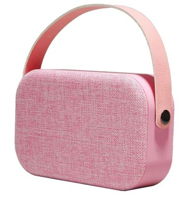 Denver BTS-63 Pink Portable Wireless Bluetooth 4.1 Speaker In Pink Fabric, With Carry Handle, Rechargeable Battery, USB & Aux-In