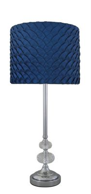 Chrome Sandringham Glass Bubble Lamp With Electric Blue Folds Shade