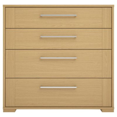 Adria Oak 4 Drawer Chest With Oak Shaker Drawers, Chrome Handle