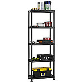 VonHaus 5 Tier Black Plastic Garage Shelving / Racking Unit and Free Wall Braces - 172.5 x 60 x 30cm