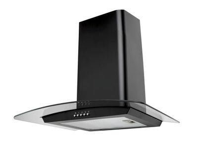 SIA CP61BL 60cm Designer Curved Glass Black Chimney Cooker Hood Extractor Fan