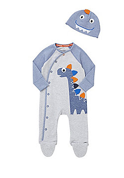 F&F Dinosaur All in One and Hat Set - Grey & Blue