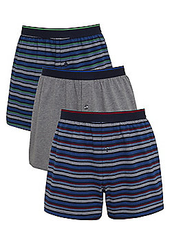 F&F 3 Pack of Striped and Marl Jersey Boxer Shorts with As New Technology - Multi