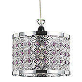 Modern Sparkly Ceiling Pendant Light Shade with Clear and Purple Beads
