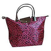 Black and Pink Leaf Fold Up Large Shopping Bag