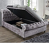 Happy Beds Castello Fabric Side Ottoman Storage Bed - Charcoal - Steel