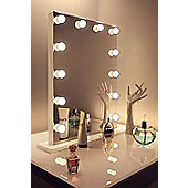 Diamond X Gloss White Hollywood Makeup Mirror Warm White Dimmable LED k113MWW
