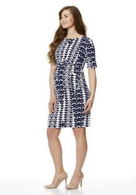 Mamalicious Graphic Print Maternity Dress Navy/White XL