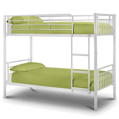 Happy Beds Atlas Metal Kids Bunk Bed with 2 Memory Foam Mattresses - White - 3ft Single