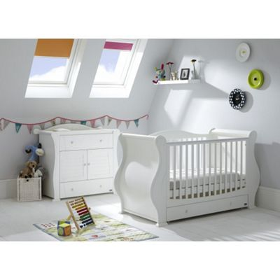 Tutti Bambini Marie 2 Piece + Sprung Mattress Nursery Room Set - White