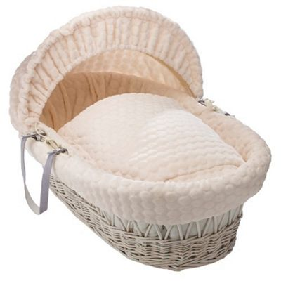 Clair de Lune White Wicker Moses Basket (Marshmallow Cream)