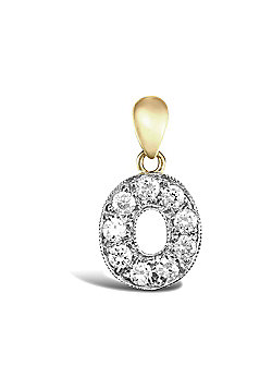 9ct Yellow Gold Cubic Zirconia Initial Charm Identity Pendant - Letter O