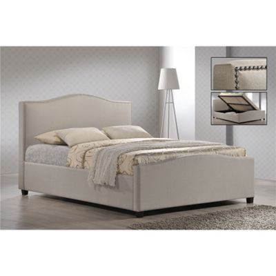 Buy Chrome Studded Sand Fabric Side Ottoman Style Bed