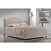 "Chrome Studded Sand Fabric Side Ottoman Style Bed Frame - Double 4ft 6"" - Sand"