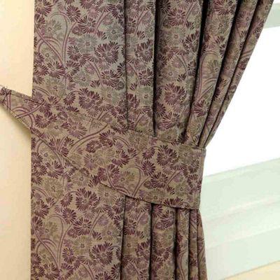 Homescapes Purple Jacquard Tie Back Pair Vintage Floral Design