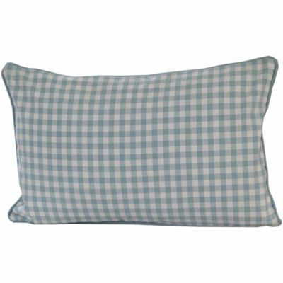 Homescapes Cotton Gingham Check Blue Cushion Cover, 30 x 50 cm