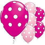 Pink Big Polka Dots 11 inch Latex Balloons - 25 Pack