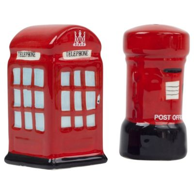 British Red Telephone And Post Box Salt Pepper Pot Gift Set