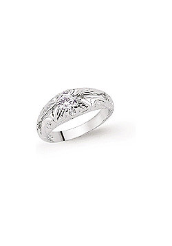 Boys Rhodium Plated Sterling Silver Round Brilliant Cubic Zirconia Gypsy Ring