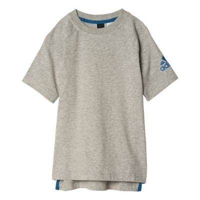 adidas Little Boys Logo Kids Cotton T-Shirt Grey - 5-6 Years