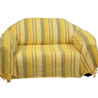Homescapes Cotton Morocco Striped Yellow Throw, 225 x 255 cm