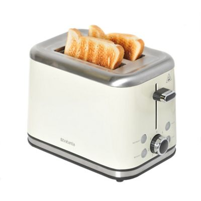 Brabantia 2-Slice Brushed Stainless Steel Toaster - Almond