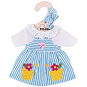 Bigjigs Toys Blue Striped Rag Doll Dress for 28cm Soft Doll with Additional Matching Hair Accessories