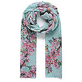 Green Branch and Blossom Print Scarf